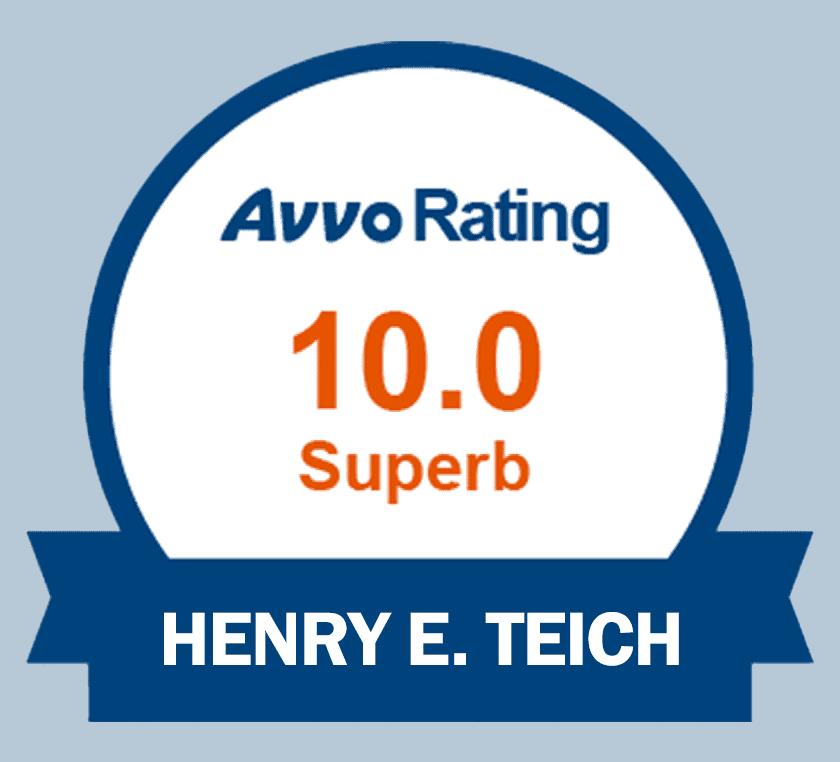 Avvo rating 10 superb Henry E. Teich